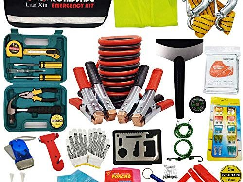 Multipurpose Emergency Pack Car Premium Road Kit Essentials Jumper Cables Set 8 Foot Automotive Roadside Assistance 142 Pieces Winter Car Kit – Roadside Assistance Emergency Kit