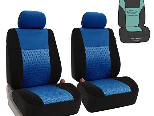 FH Group FB060102 Trendy Elegance Pair Set Bucket Car Seat Covers, Airbag Compatible w. Gift, Blue/Black Color-Fit Most Car, Truck, SUV, or Van