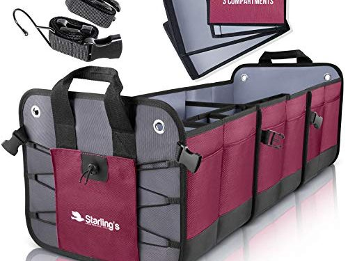 Durable Storage SUV Cargo Organizer Adjustable Bordeaux, 3 Compartments – Starling's Car Trunk Organizer
