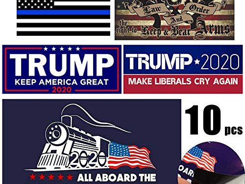 Five Different Sticker Designs – QSUM Trump 2020 Sticker 10 Pcs, Trump Bumper Sticker for Presidential Election – Limited Time Offer PVC Sticker