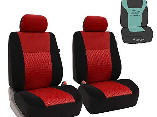 FH Group FB060102 Trendy Elegance Pair Set Bucket Car Seat Covers, Airbag Compatible w. Gift, Red/Black Color-Fit Most Car, Truck, SUV, or Van