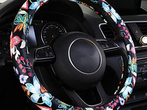 SHAKAR Jacquard Flowers Steering Wheel Covers, Floral Steering Covers for Women,Universal 15.2 inch Red