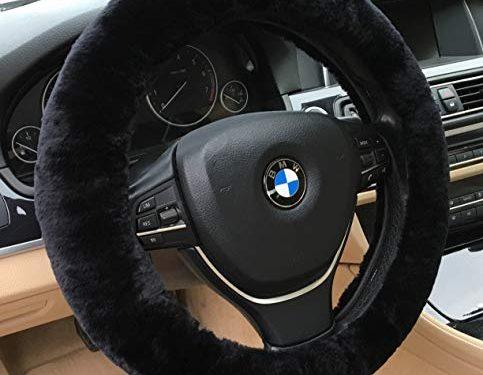 ANDALUS Car Steering Wheel Cover, Fluffy Pure Australia Sheepskin Wool, Universal 15 inch Black