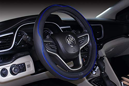 "Mayco Bell Microfiber Leather Car Large Steering wheel Cover 15.25""-16"", Black Dark Blue"