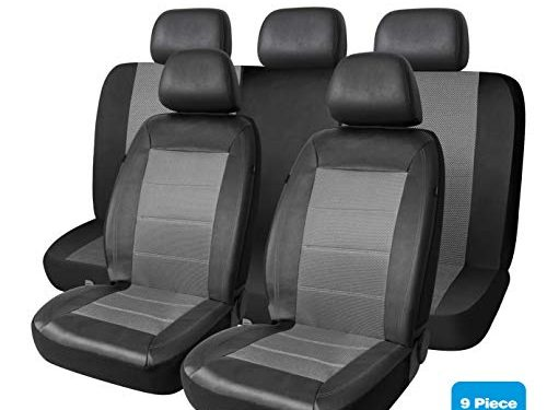PIC AUTO Universal Fit Full Set Mesh and Leather Car Seat CoverGray