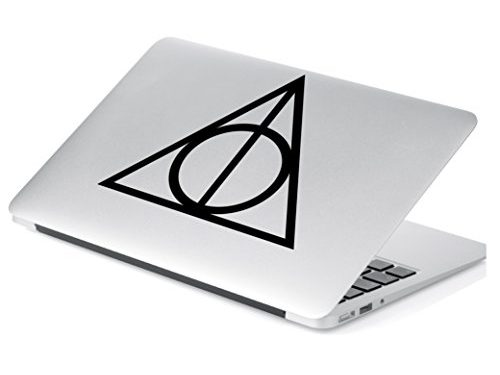 Deathly Hallows inspired Harry Potter Decal Sticker for Car Window, Laptop and More. # 467 4″ x 4.6″, Black