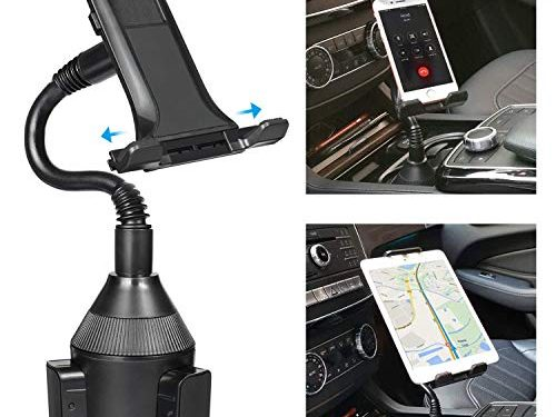 Cup Holder Phone Mount TOOVREN 2-in-1 Tablet & Cell Phone Car Phone Mount with Adjustable Gooseneck for Apple iPad Pro, iPhone 11/11 Pro/11 Pro Max/Xr/XS Max/8/7 Plus, Samsung Note 10+/8/s9 Plus
