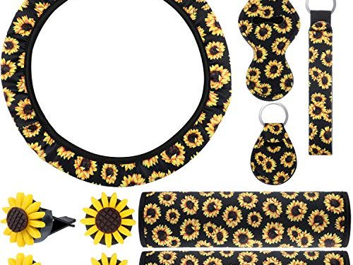 10 Pieces Sunflower Car Accessories Set Include Sunflower Steering Wheel Cover, Cute Sunflowers Keyring, Car Vent Decorations and Seat Belt Shoulder Pads