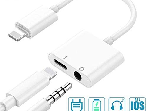 Headphone Adapter Jack Dongle Adapter to 3.5mm Converter Car Charge Accessories for iPhone 8/8Plus/X/XS/XS MAX/XR/7/7 Plus /11 with 2 in 1 Earphone Splitter Adaptor Cable & Audio Connector