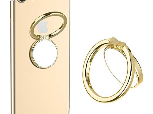 Mirror Finger Ring Holder, ICEYA Cell Phone Ring Stand Holder 360°Rotation Case Ring Grip Mount for iPhone 7/7 Plus, Galaxy S8/S8 Plus and Other Smartphones Gold