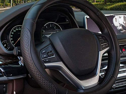Valleycomfy 14.25 inch Auto Car Black Steering Wheel Covers- Genuine Leather for Prius Civic