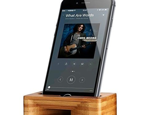 ARCHEER Cell Phone Stand with Sound Amplifier, Phone Stand Holder Natural Bamboo Wood Phone Dock Stands Compatible Phone XS Max XR 6 6s 7 8 X Plus 5 5s 5c and Android Smartphones Within 5.5 Inches