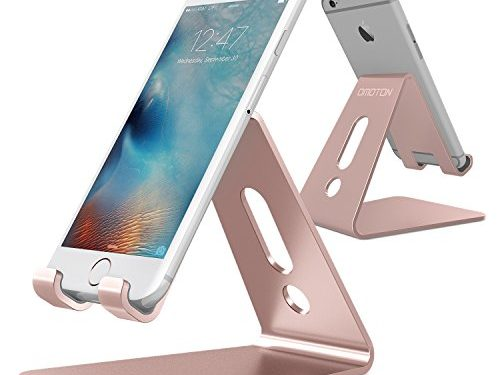 Updated Solid Version OMOTON Desktop Cell Phone Stand Tablet Stand, Advanced 4mm Thickness Aluminum Stand Holder for Mobile Phone All Size and Tablet Up to 10.1 inch, Rose Gold