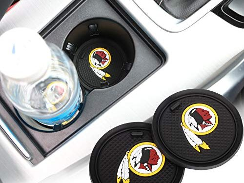 2 Pack 2.75 inch for Washington Redskins Car Interior Accessories Anti Slip Cup Mat for All Vehicles Washington Redskins