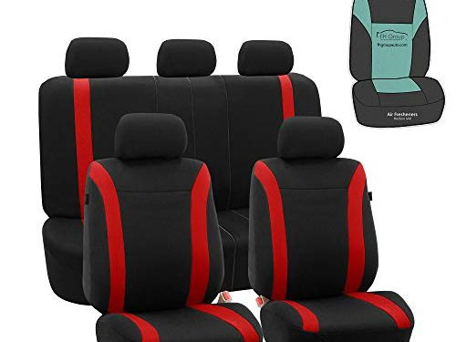 FH Group FB054115 Black Cosmopolitan Flat Cloth Full Set Car Seat Covers, Airbag Compatible & Split Bench w Gift, Solid Black Color -Fit Most Car, Truck, SUV, or Van