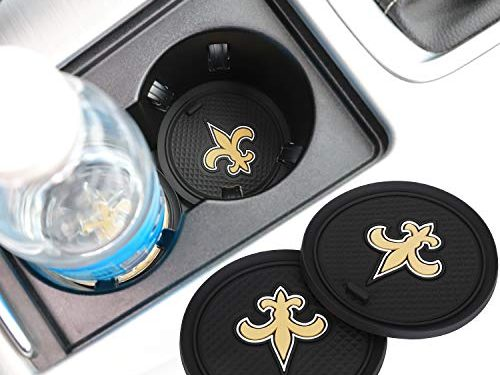2 Pack 2.75 inch for New Orleans Saints Car Interior Accessories Anti Slip Cup Mat for All Vehicles New Orleans Saints