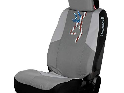 Browning Buckmark Flag Low Back Seat Cover | Gray | Single, Dark Gray/Light Gray