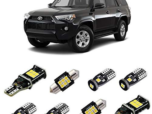 iBrightstar Super Bright Canbus LED Bulbs Package Kit fit for Toyota 4Runner 2006-2019 Interior Lights + License Plate Lights + Cargo Lights + Back Up Reverse Lights, Xenon White