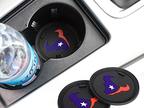 2 Pack 2.75 inch for Houston Texans Car Interior Accessories Anti Slip Cup Mat for All Vehicles Houston Texans