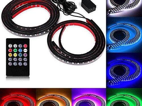 SOCAL-LED 4x Car LED Strip Lights RGB 8 Color LED Underglow Kit Underbody Accent Light, Wireless Remote Control, Sound Activated, 36″ & 48″ Strips