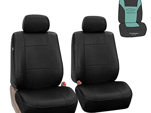 FH Group FH-PU002102 Classic Exquisite Leather Bucket Seat Covers, Airbag Compatible and Split Ready- Fit Most Car, Truck, SUV, or Van Solid Black