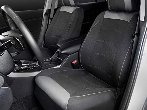Motor Trend M314 Two Tone Black/Gray Cloth Polyester Protector Car Seat Covers for Premium Interior Comfort