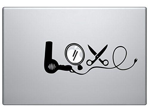 Love Dryer Mirror Scissors Stylist Car Truck Laptop Macbook Mac air Window Decal Sticker black