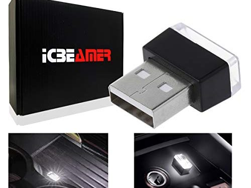 ICBEAMER 1pc White Universal USB Interface Plug-in Miniature Night Light LED Car Interior Trunk Ambient Atmosphere