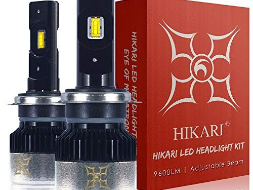 HIKARI LED Headlight Bulbs Conversion Kit-H7, 2019 New Gen of HIKARI, Adjustable Beam, 9600lm 6K Cool White