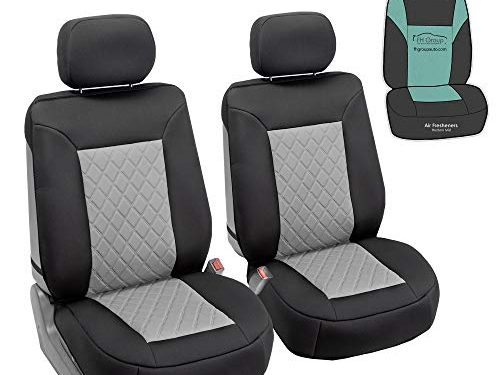 FH Group FB088102 Neosupreme Deluxe Quality Car Seat Cushions Gray Front Set with Gift – Universal Fit for Cars Trucks and SUVs