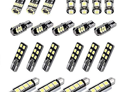 Justech 22PCs Can-Bus Error Free LED SMD Bulbs Kit Set Spare Parts for Car Interior Dome Map Door Courtesy License Plate Lights Festoon C5W T10 168 194 2825 Xenon-White