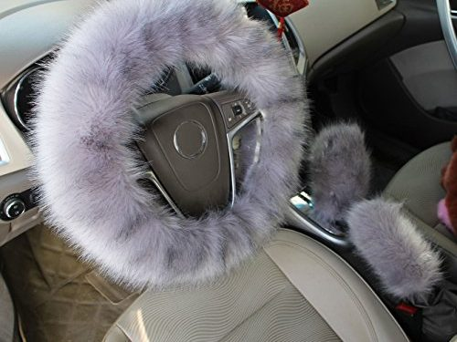 Warm Steering Wheel Cover with Handrake Cover & Gear Shift Cover Cxtiy 3 Pcs 1 Set Winter for 14.96″ X 14.96″ Steeling Wheel in Diameter Gray