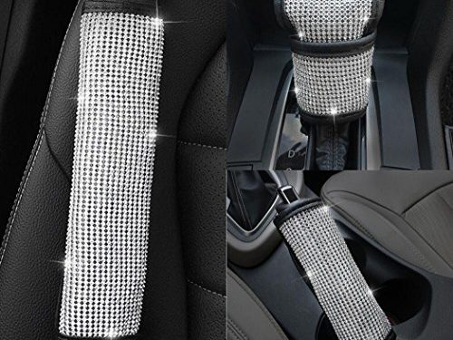 U&M Bling Bling Auto Seat Belt Cover & Handbrake Cover & Shift Gear Cushion Luster Crystal Diamond Car Decor Accessories 3 pcs in 1 Set