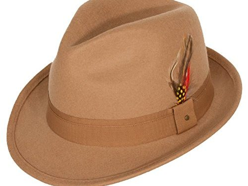 9th Street Men's 100% Wool 'Verve' Trilby Fedora Hat 3 Colors Medium fits 7 to 7 1/8, Camel