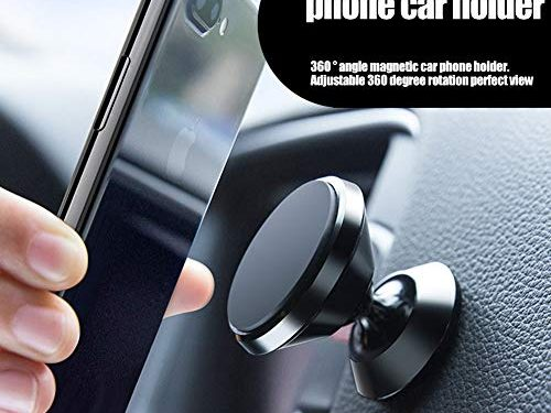 Magnetic Car Mount, MANORDS Stylish 360°Rotation Car Phone Holder, Adjustable Dashboard Mount Compatible iPhone Xs X 8 Plus 7 6s Samsung Galaxy S9 S8 Edge S7 Note 9 and MoreBlack