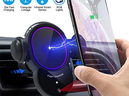 UpgradedWireless Car Charger Mount-Triangle Linkage Automatic Clamping 10W Qi Fast Charging Air Vent Phone Holder,Infrared Sensing Compatible with iPhone 11 Pro Max Xs XR X 8,Samsung S10 S9 Note 10