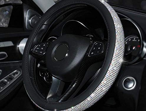 NILE Car Crystal Steering Wheel Cover, Auto Rhinestone Steering Wheel Protector Universal Interior Accessories for Women