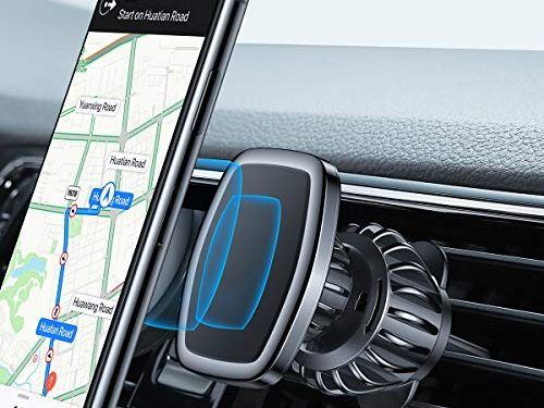 LISEN Magnetic Phone Car Mount, Upgraded CLAMP Magnetic Car Phone Holder 6 Strong Magnets Cell Phone Holder for Car CASE Friendly iPhone Vent Mount Compatible with All Smartphone and Tablets