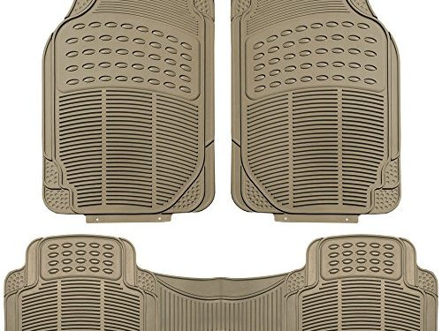FH Group F11306BEIGE Tan All Weather Floor Mat, 3 Piece Full Set Trimmable Heavy Duty