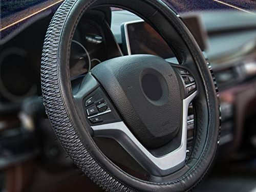 Alusbell Microfiber Leather Steering Wheel Cover for Men Women Anti-Slip Auto Car Steering Wheel Cover Universal 15 Inches Black
