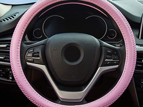 Alusbell Microfiber LeatherSteering Wheel Cover for Men Women Anti-Slip Auto Car Steering Wheel Cover Universal 15 Inches Pink