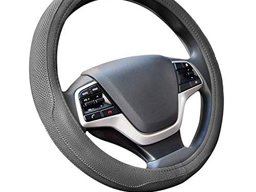 Ylife Microfiber Leather Car Steering Wheel Cover, Universal 15 inch Breathable Anti Slip Auto Steering Wheel Covers, Grey