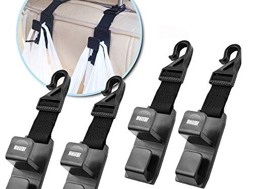 Heliar 4 Pack Car Seat Headrest Hooks Backseat Headrest Hanger Storage for Handbags, Purses, Coats, and Grocery Bags, Universal Vehicle Car Seat Back Headrest Bottle Holder – Strong and Durable