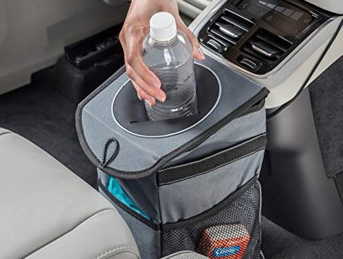 High Road StashAway Console Car Trash Can with Lid Gray