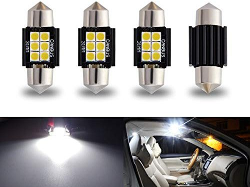 iBrightstar Newest 9-30V Extremely Bright DE3175 DE3021 Festoon Error Free 1.25″ 31mm LED for Interior Map Dome Lights and License Plate Courtesy Lights, Xenon White