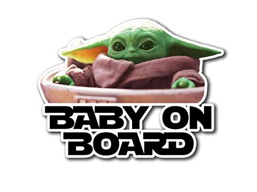 Decal Gift for Star Wars Fans to Place on Window Car Truck Vehicle Bumper Laptop MacBook Computer Mug – Ichthus Graphics Baby on Board Baby Yoda The Child Mandalorian Jedi Vinyl – 2 Stickers – 1 Pair