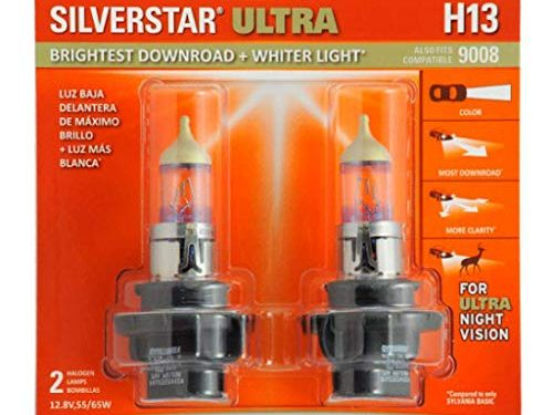 H13 SilverStar Ultra – SYLVANIA – High Performance Halogen Headlight Bulb, High Beam, Low Beam and Fog Replacement Bulb, Brightest Downroad with Whiter Light, Tri-Band Technology Contains 2 Bulbs