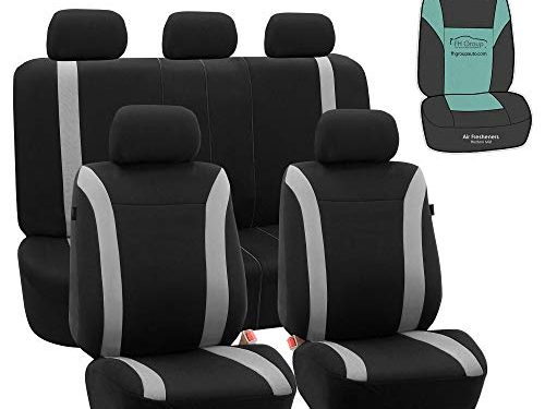 FH Group FB054115 Cosmopolitan Flat Cloth Full Set Car Seat Covers, Airbag Compatible & Split Bench w Gift, Gray/Black Color -Fit Most Car, Truck, SUV, or Van