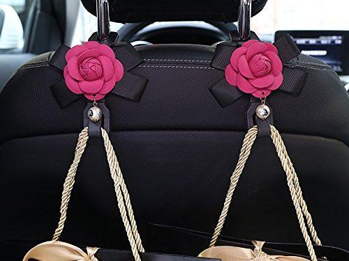 Follicomfy 2pcs Camellia Flowers Car Seat Back Hooks Hangers Organizer Headrest Mount Storage Hooks Clips Styling Car Accessories,Rose Red Flower
