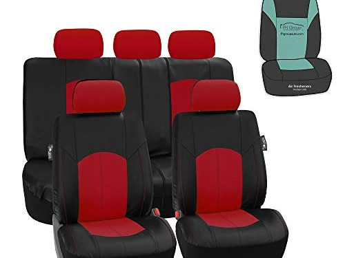 Universal Fit – FH Group PU008115 Highest Grade Faux Leather Seat Covers Red Full Set with Gift